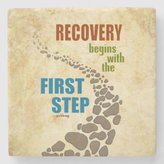 Recovery, the First Step (12 step, drug free) Stone Coaster