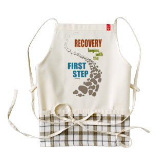 Recovery, the First Step (12 step, drug free) Zazzle HEART Apron