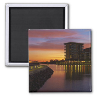 Recreation Lagoon and apartments at sunset 2 Inch Square Magnet