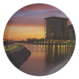 Recreation Lagoon and apartments at sunset Dinner Plate