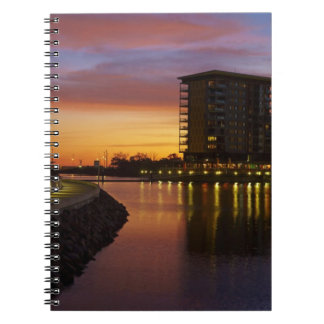 Recreation Lagoon and apartments at sunset Notebook