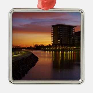 Recreation Lagoon and apartments at sunset Square Metal Christmas Ornament