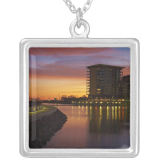 Recreation Lagoon and apartments at sunset Square Pendant Necklace