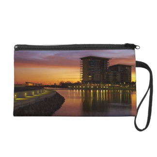 Recreation Lagoon and apartments at sunset Wristlet