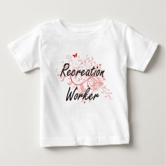 Recreation Worker Artistic Job Design with Butterf Baby T-Shirt
