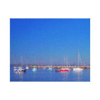 Recreational Boats in Harbour Canvas Print