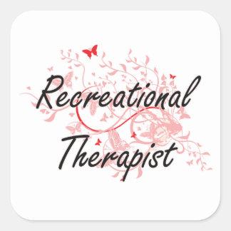 Recreational Therapist Artistic Job Design with Bu Square Sticker