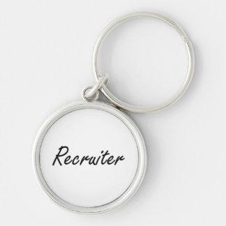 Recruiter Artistic Job Design Silver-Colored Round Keychain