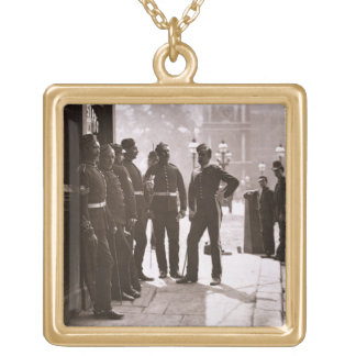 Recruiting Sergeants at Westminster, 1876-77 (wood Square Pendant Necklace