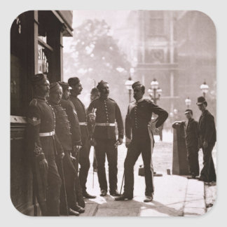 Recruiting Sergeants at Westminster, 1876-77 (wood Square Sticker
