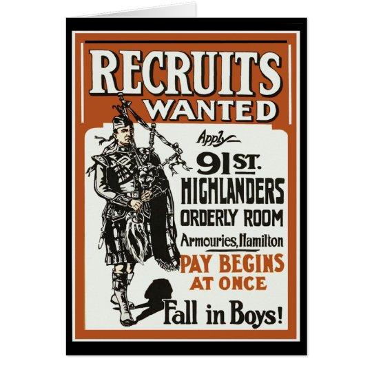 Recruitment 91st Highlanders Bagpiles WWI Card