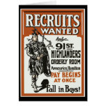 Recruitment 91st Highlanders Bagpiles WWI Cards