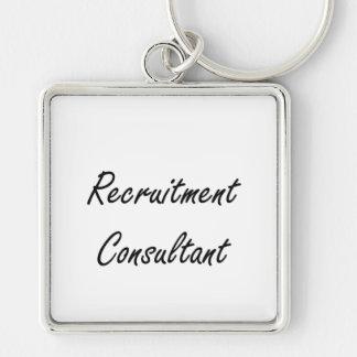 Recruitment Consultant Artistic Job Design Silver-Colored Square Keychain