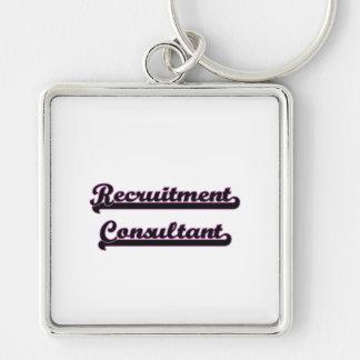 Recruitment Consultant Classic Job Design Silver-Colored Square Keychain