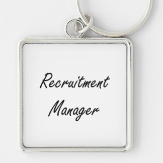 Recruitment Manager Artistic Job Design Silver-Colored Square Keychain