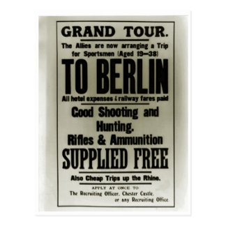 Recruitment poster, Free Trips to Berlin Postcard