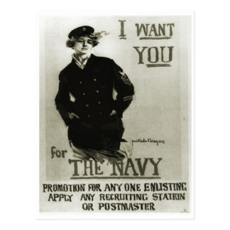Recruitment poster, girl in naval greatcoat postcard