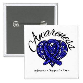 Rectal Cancer Awareness Mosaic Heart Pinback Button