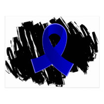 Rectal Cancer Blue Ribbon With Scribble Postcard