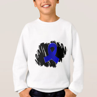 Rectal Cancer Blue Ribbon With Scribble Sweatshirt