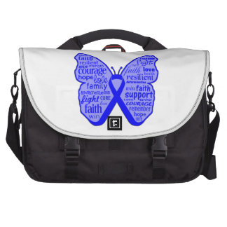 Rectal Cancer Butterfly Collage of Words Laptop Bag