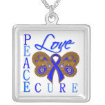 Rectal Cancer Butterfly Peace Love Cure Personalized Necklace