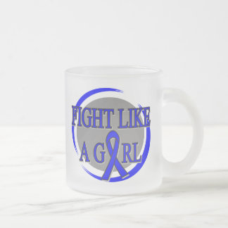 Rectal Cancer Fight Like A Girl Circular Coffee Mugs