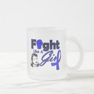 Rectal Cancer Fight Like A Girl - Retro Girl 10 Oz Frosted Glass Coffee Mug
