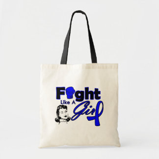 Rectal Cancer Fight Like A Girl - Retro Girl Budget Tote Bag
