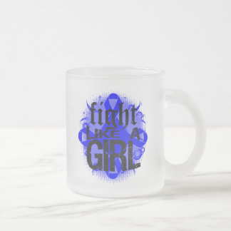 Rectal Cancer Fight Like A Girl Rock Ed. 10 Oz Frosted Glass Coffee Mug