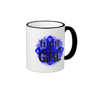 Rectal Cancer Fight Like A Girl Rock Ed. Ringer Coffee Mug