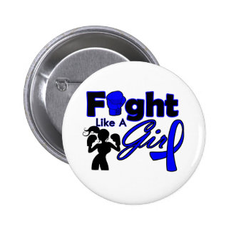 Rectal Cancer Fight Like A Girl Silhouette Button