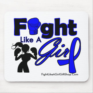 Rectal Cancer Fight Like A Girl Silhouette Mouse Pad