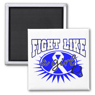 Rectal Cancer Fight Like A Girl Sporty Callout Refrigerator Magnets