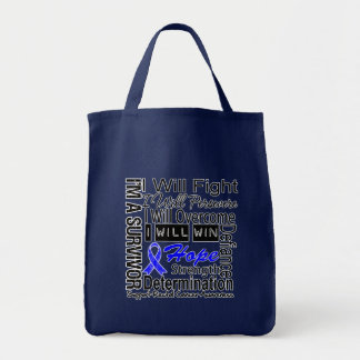 Rectal Cancer Fight Persevere Overcome Win Grocery Tote Bag