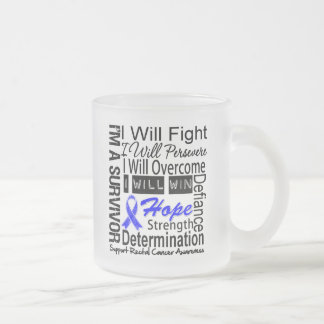 Rectal Cancer Fight Persevere Overcome Win Coffee Mugs