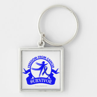 Rectal Cancer - Freedom From Cancer Survivor Silver-Colored Square Keychain