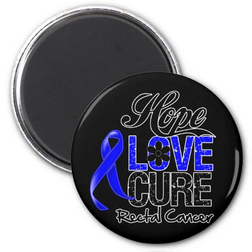 Rectal Cancer Hope Love Cure 2 Inch Round Magnet