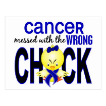 Rectal Cancer Messed With Wrong Chick Postcard