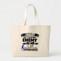 Rectal Cancer Met Its Worst Enemy in Me Large Tote Bag