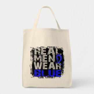 Rectal Cancer Real Men Wear Blue Tote Bags