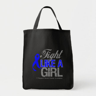 Rectal Cancer Ribbon - Fight Like a Girl Canvas Bag