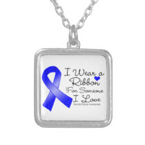 Rectal Cancer Ribbon Someone I Love Silver Plated Necklace