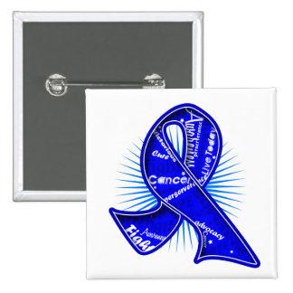 Rectal Cancer Slogan Watermark Ribbon Pins