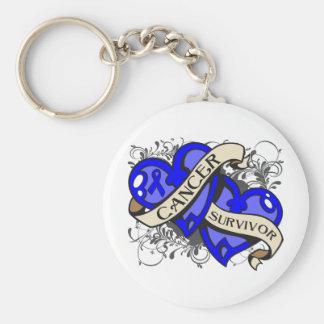 Rectal Cancer Survivor Dual Hearts Basic Round Button Keychain