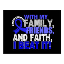 Rectal Cancer Survivor Family Friends Faith Postcard