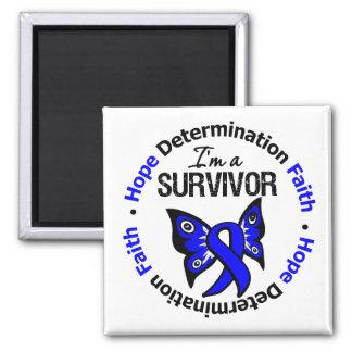 Rectal Cancer Survivor Hope Determination Faith 2 Inch Square Magnet