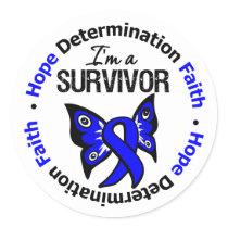 Rectal Cancer Survivor Hope Determination Faith Classic Round Sticker