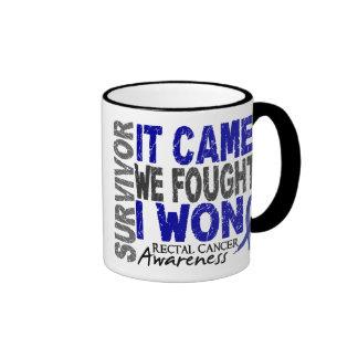 Rectal Cancer Survivor It Came We Fought I Won Ringer Coffee Mug