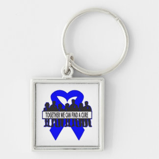 Rectal Cancer Together We Can Find A Cure Silver-Colored Square Keychain